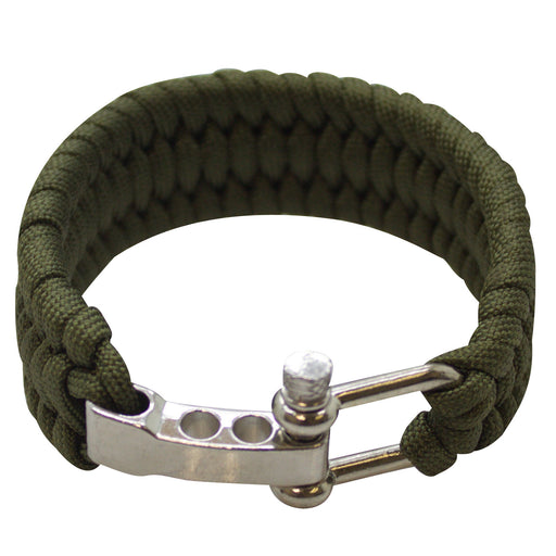 SAS Survival Paracord Bracelet 550lbs with Steel Shackle Buckle - Green