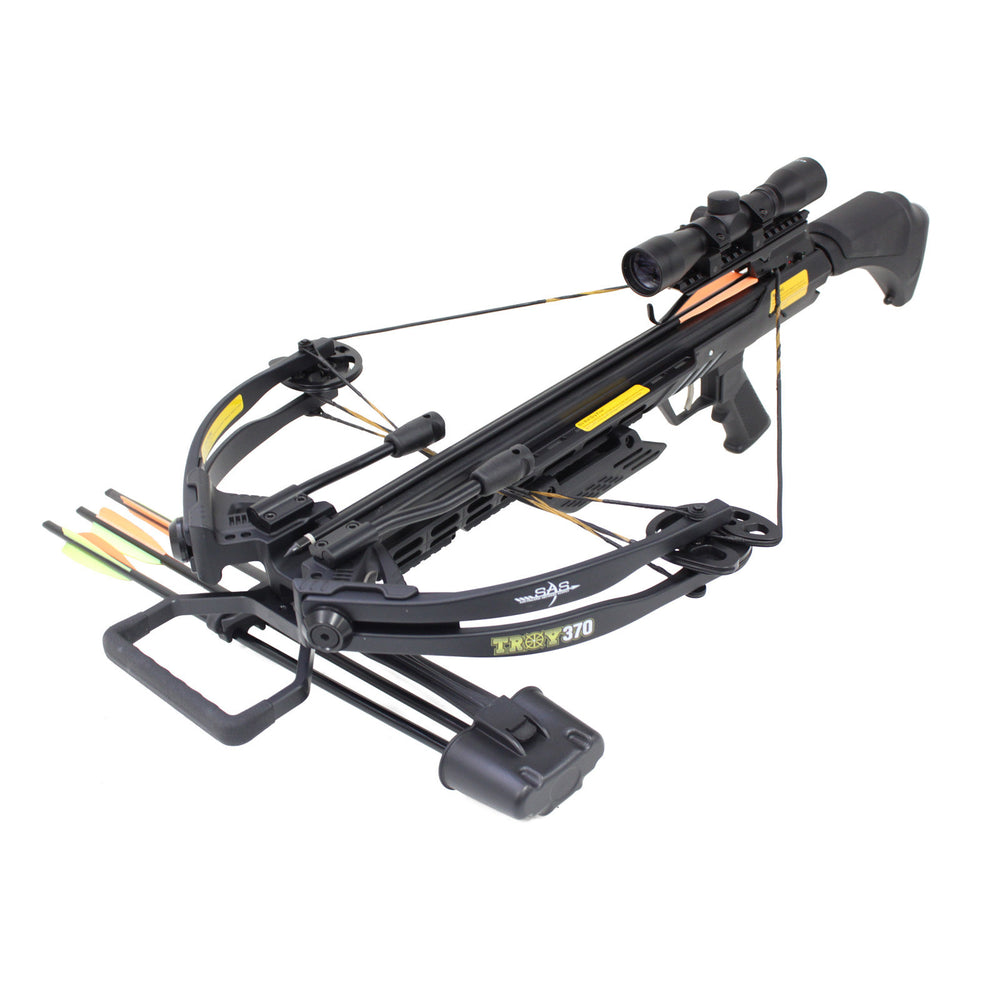 SAS Troy 370 Compound Crossbow 185 lbs 4x32 Scope Package - Free Rope Cocking