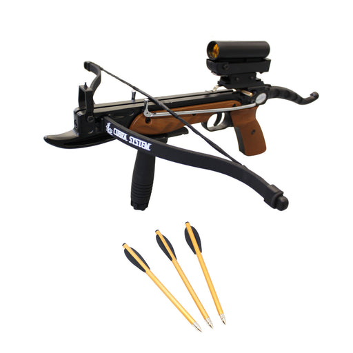 SAS Prophecy 80lbs Pistol Crossbow with Red Dot Scope + Pack of Bolts + Stringer