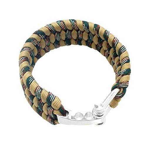 SAS Survival Paracord Bracelet 550lbs (Sand Camo with Steel Shackle Buckle)