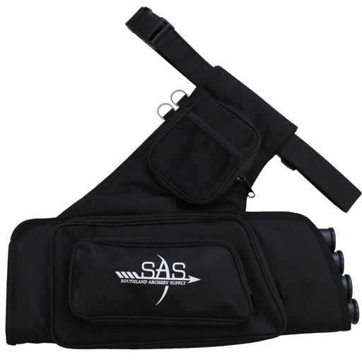 SAS 4 Tube Archery Arrow Target Quiver with Accessory Pockets and Waist Strap