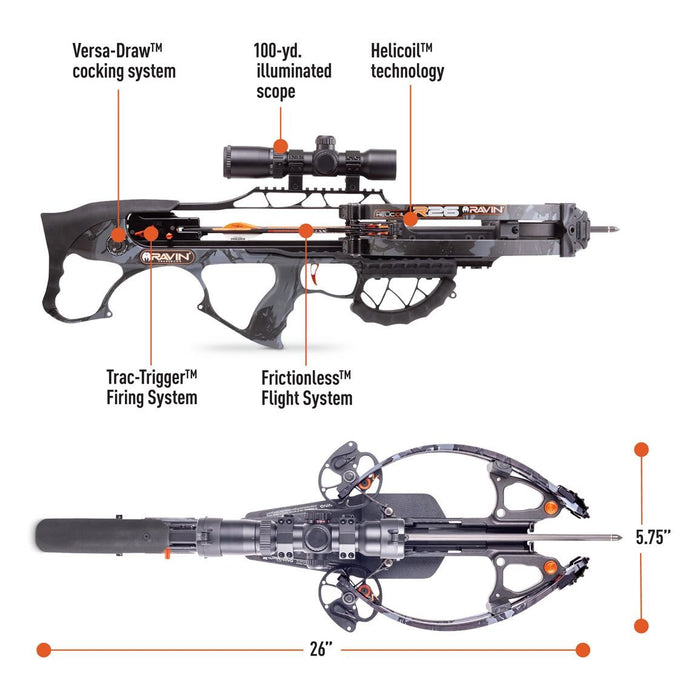 Ravin Crossbow Package R26 with HeliCoil Technology 400 FPS Predator Dusk Camo
