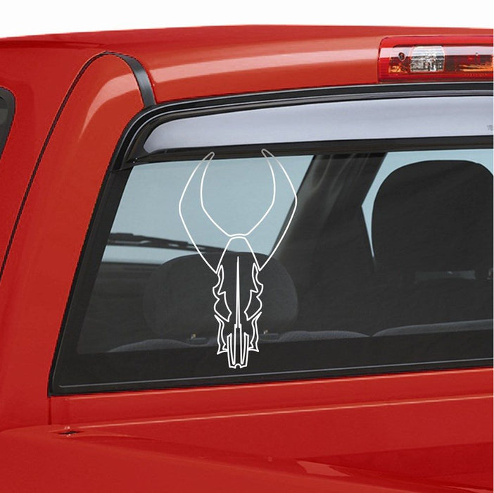 "Badlands 12"" Bull Skull Outline Decal White"