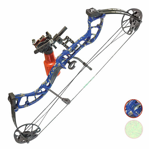 PSE D3 Bowfishing Compound Bow Cajun Package US Made - Blue DK'D/Green DK'D