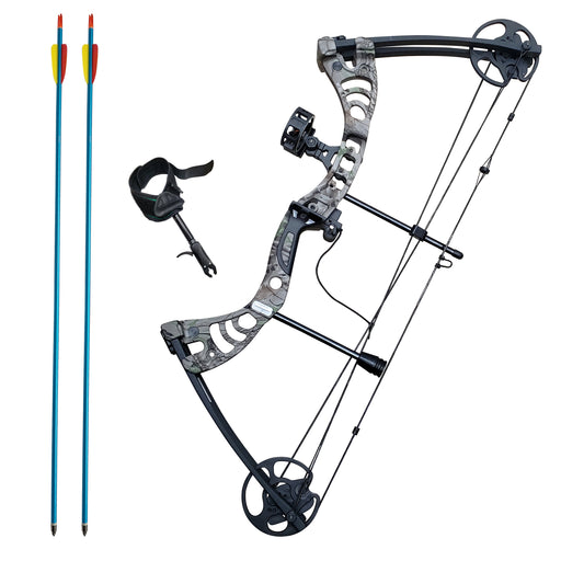 SAS Scorpii 55lbs Bow Kit w/ Arrow Rest, Sight, Release, and Arrows - Black/Camo