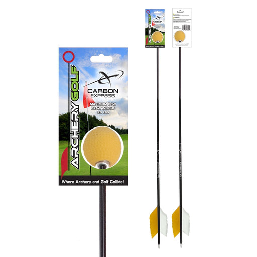 Carbon Express Archery Golf Arrow with Golf Ball Tip Black/Yellow Color - 1/Pack