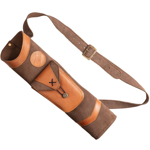 Bear Archery Traditional Back Leather Arrow Quiver with Large Pouch - Brown