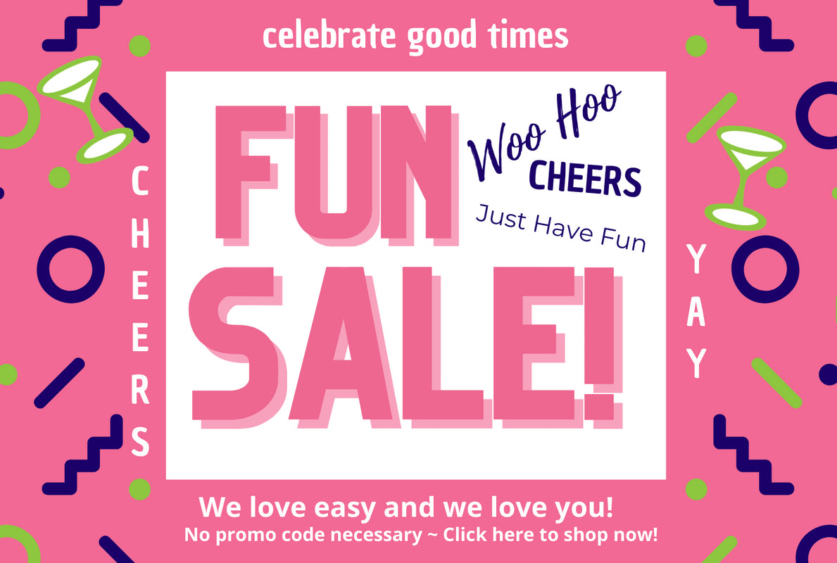Cute Booze Fun Sale with up to 50% off fun bar and drinkware.