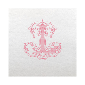 Vintage Vine Single Letter Cocktail Napkins - Strawberry Ice