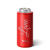 Personalized Skinny Can Cooler - Matte Red