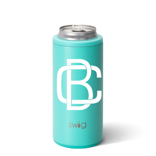 Personalized Skinny Can Cooler - Matte Aqua