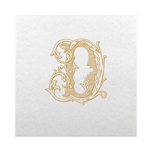 Vintage Vine Single Letter Cocktail Napkins - Gold