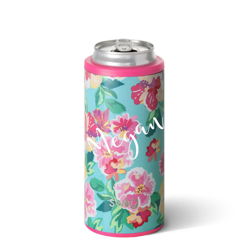 Personalized Skinny Can Cooler - Island Bloom