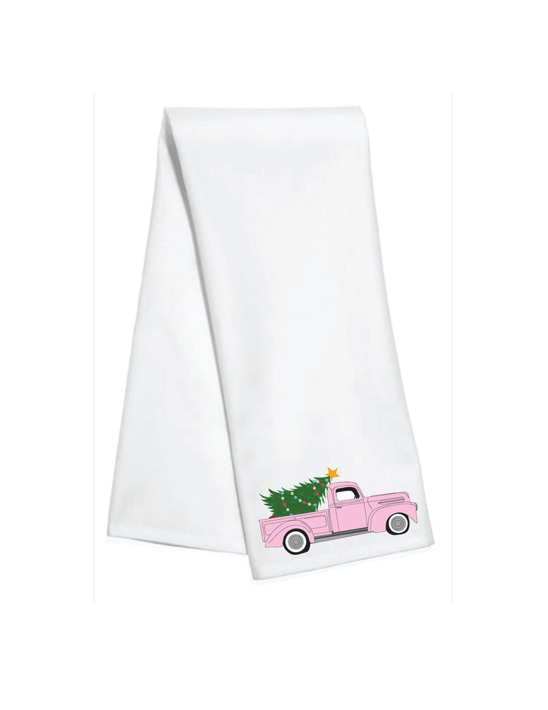 Pink Christmas Truck Bar Towel
