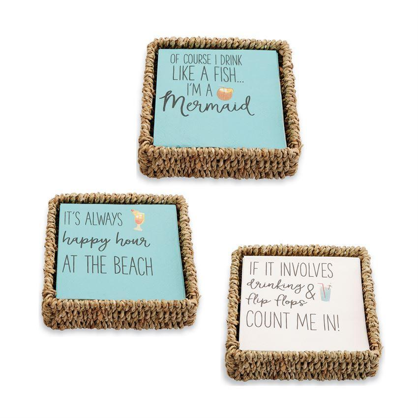 Beach Cocktail Napkin & Basket Sets