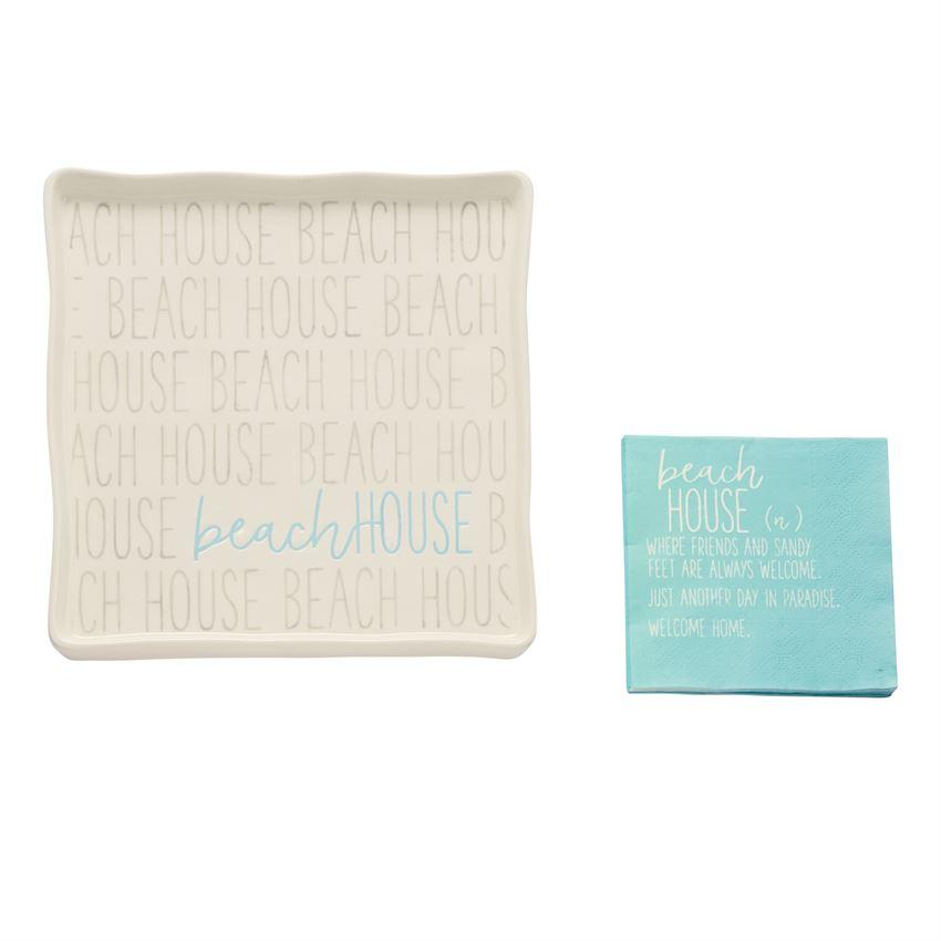 Beach House Boxed Plate & Napkin Set