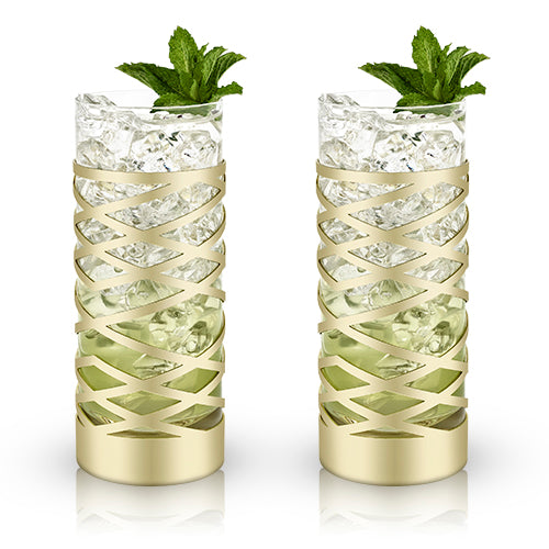Viski® Gold & Crystal Patterned Highball Glasses