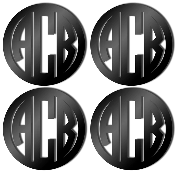 Black Monogrammed Coasters in Circle Font