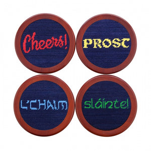 Cheers Needlepoint Coaster Set