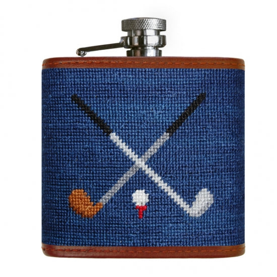 Smathers & Branson Crossed Clubs Needlepoint Flask