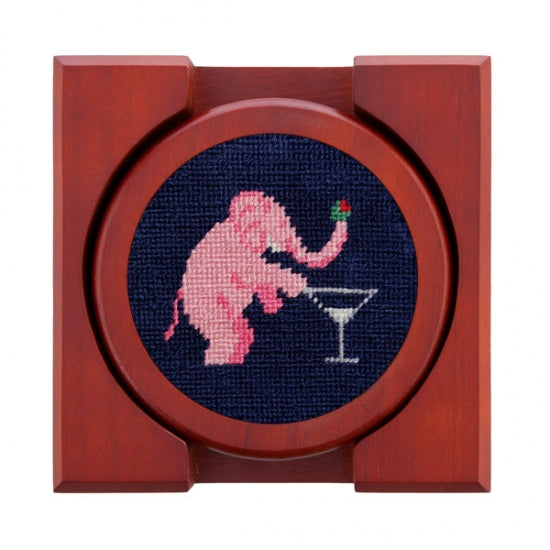 Smathers & Branson Pink Elephants Coaster Set