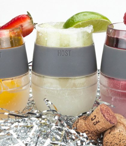 Wine FREEZE Cooling Cups S/2 - Coral