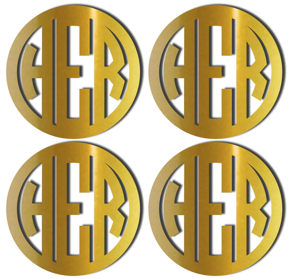 Gold Monogrammed Coasters with Circle Font