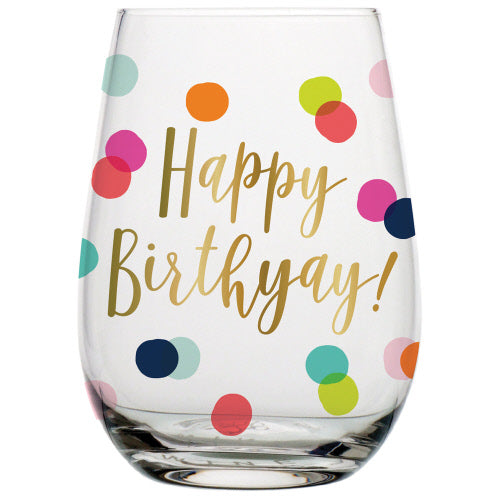 Happy Birthday Stemless Wine
