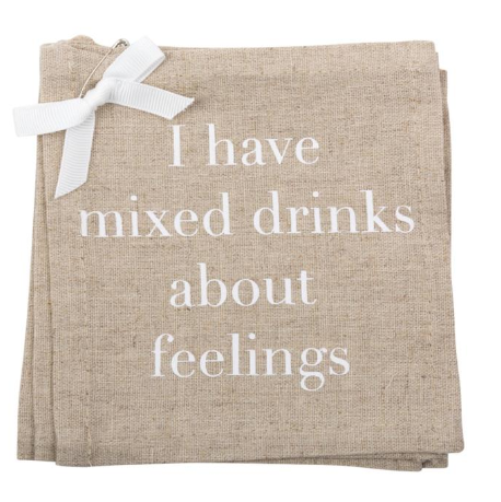 """I Have Mixed Drinks"" Linen Coasters"