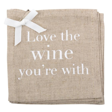 """Love the Wine"" Linen Coasters"
