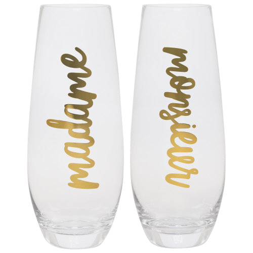 Madame/Monsieur Champagne Flute S/2