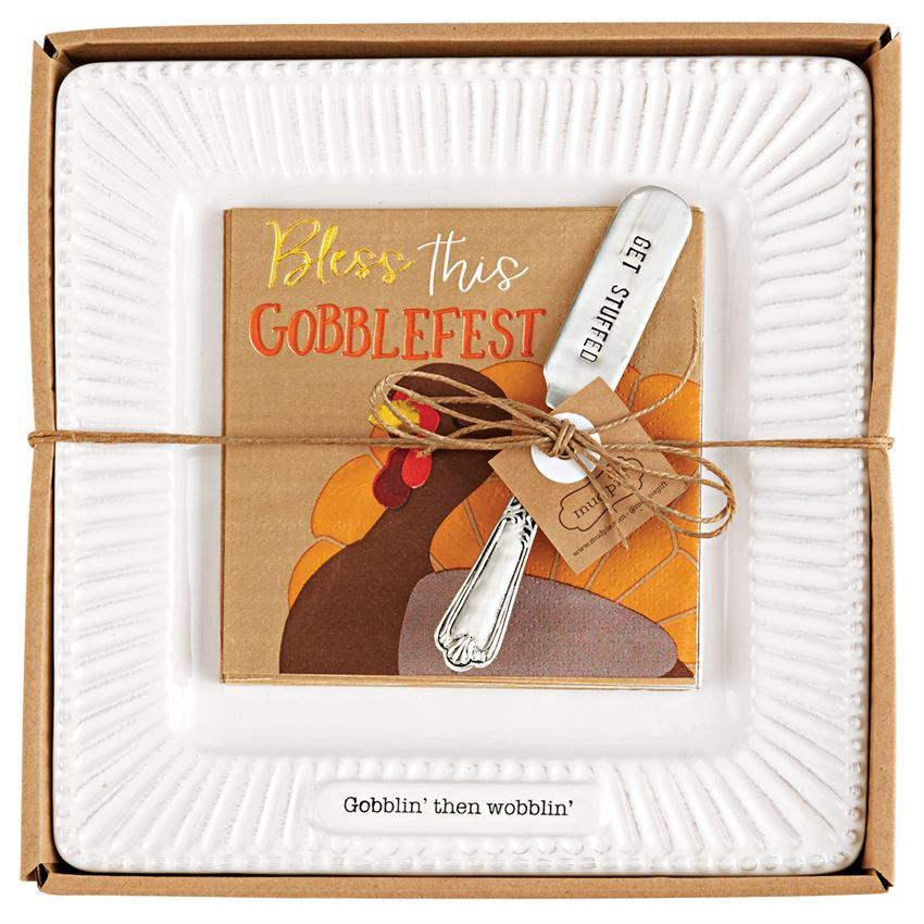 Gobblin' then Wobblin' Cheese Plate Set