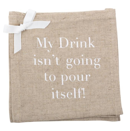 """Pour Itself"" Linen Coasters"