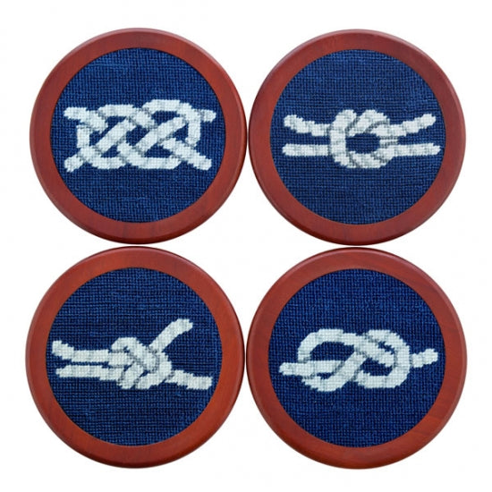 Nautical Knots Needlepoint Coaster Set