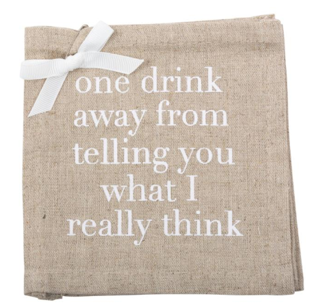 """One Drink Away"" Linen Coasters"