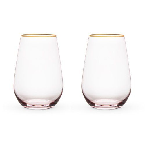Rosé Crystal Stemless Wine Set