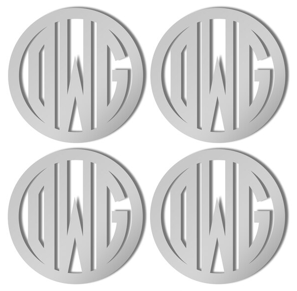 Silver Monogrammed Coasters in Circle Font