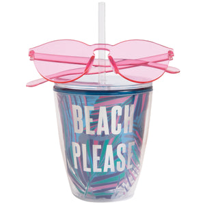 Beach Please Tumbler with Sunglasses
