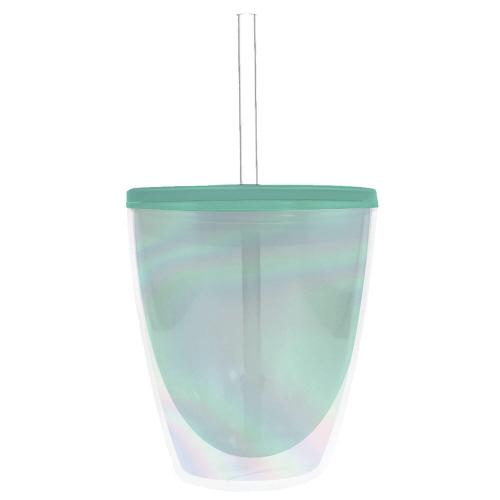 Blue Irid Tumbler with Straw