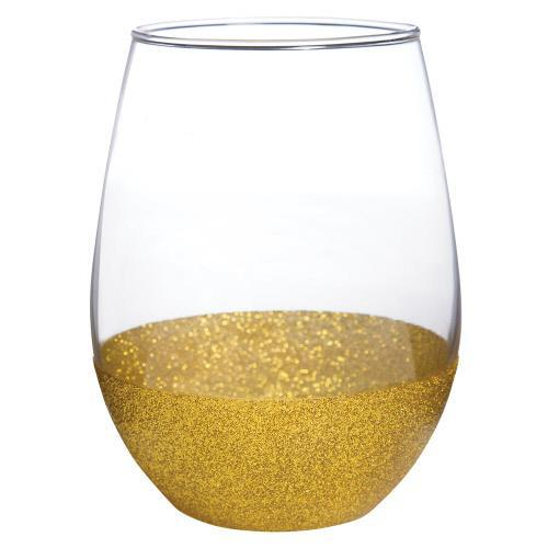 Gold Glitter Dip Stemless Wine