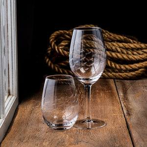 Stemless Goblet with Cut Fish
