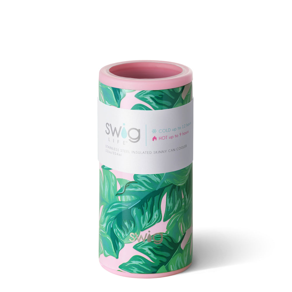 Personalized Skinny Can Cooler - Palm Leaf