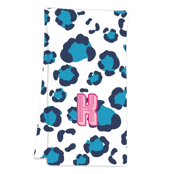 Blue Animal Print Bar Cart Towels