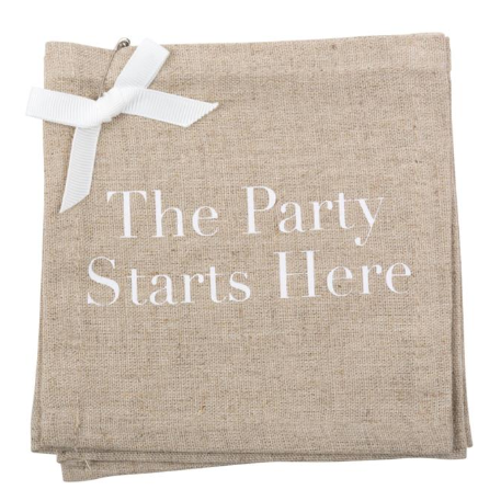 """The Party Starts Here"" Linen Coasters"