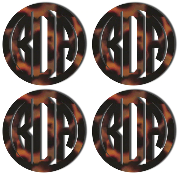 Tortoise Monogrammed Coasters in Circle Font