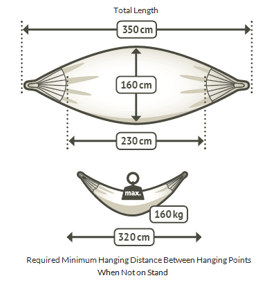 Colombian Double Hammock dimensions