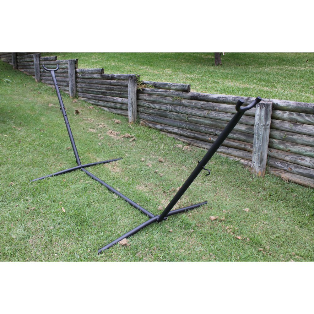 Black metal hammock stand