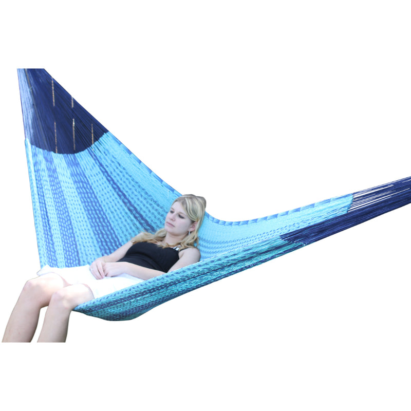 Blue Mexican woven hammock