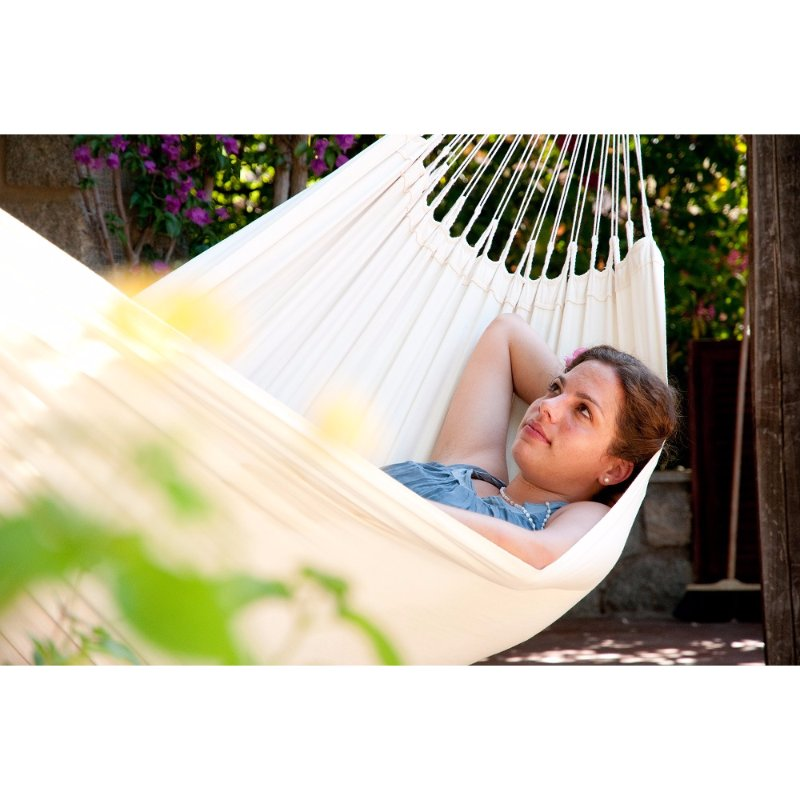 Outdoor white cotton hammock