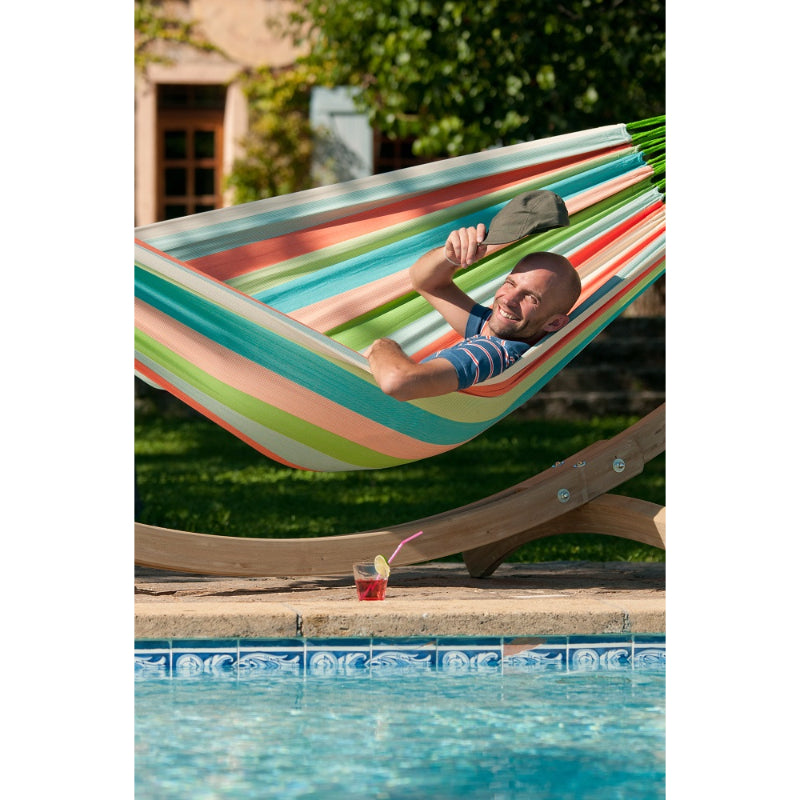 Hammock by swimming pool